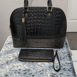 Faux alligator, black & gray with wallet.
